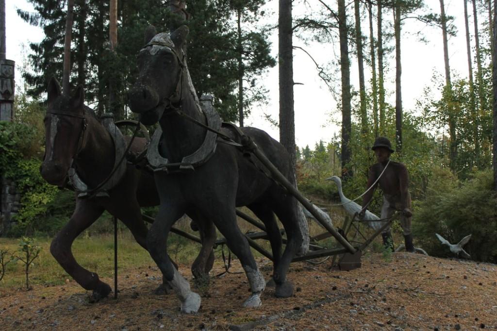Pyhärannan Hirvipuiston hevosia.
